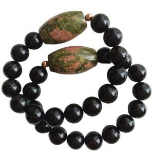 Onyx and Unakite Bracelet Set